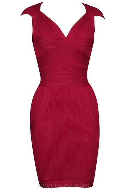 Herve Leger Dark Red Sweetheart Ribbed Dress