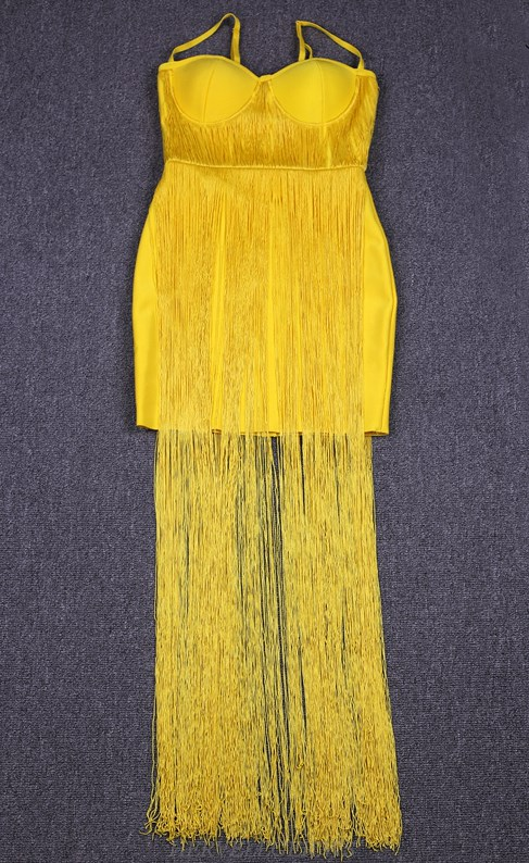 Herve Leger Yellow Tassel Bustier Gown