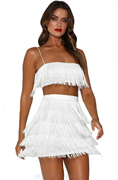 Herve Leger White Tassel Two Piece Dress