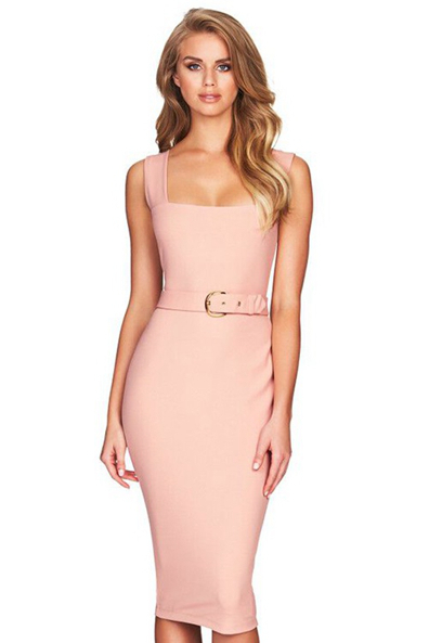 Herve Leger Pink Belt Detail Dress