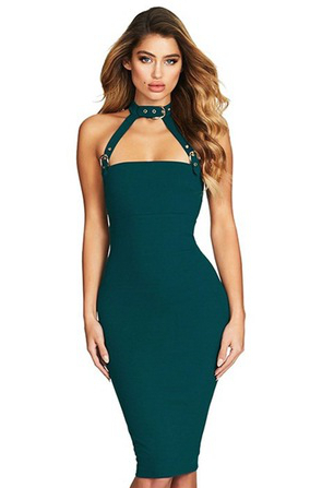 Herve Leger Green Halter Buckle Detail Dress