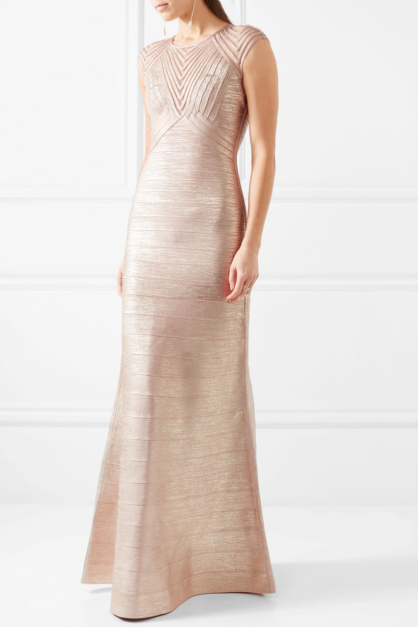 Herve Leger Gold Mermaid Woodgrain Foil Print Gown