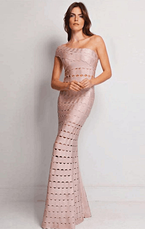 Herve Leger Nude One Shoulder Laser Cut Mermaid Gown