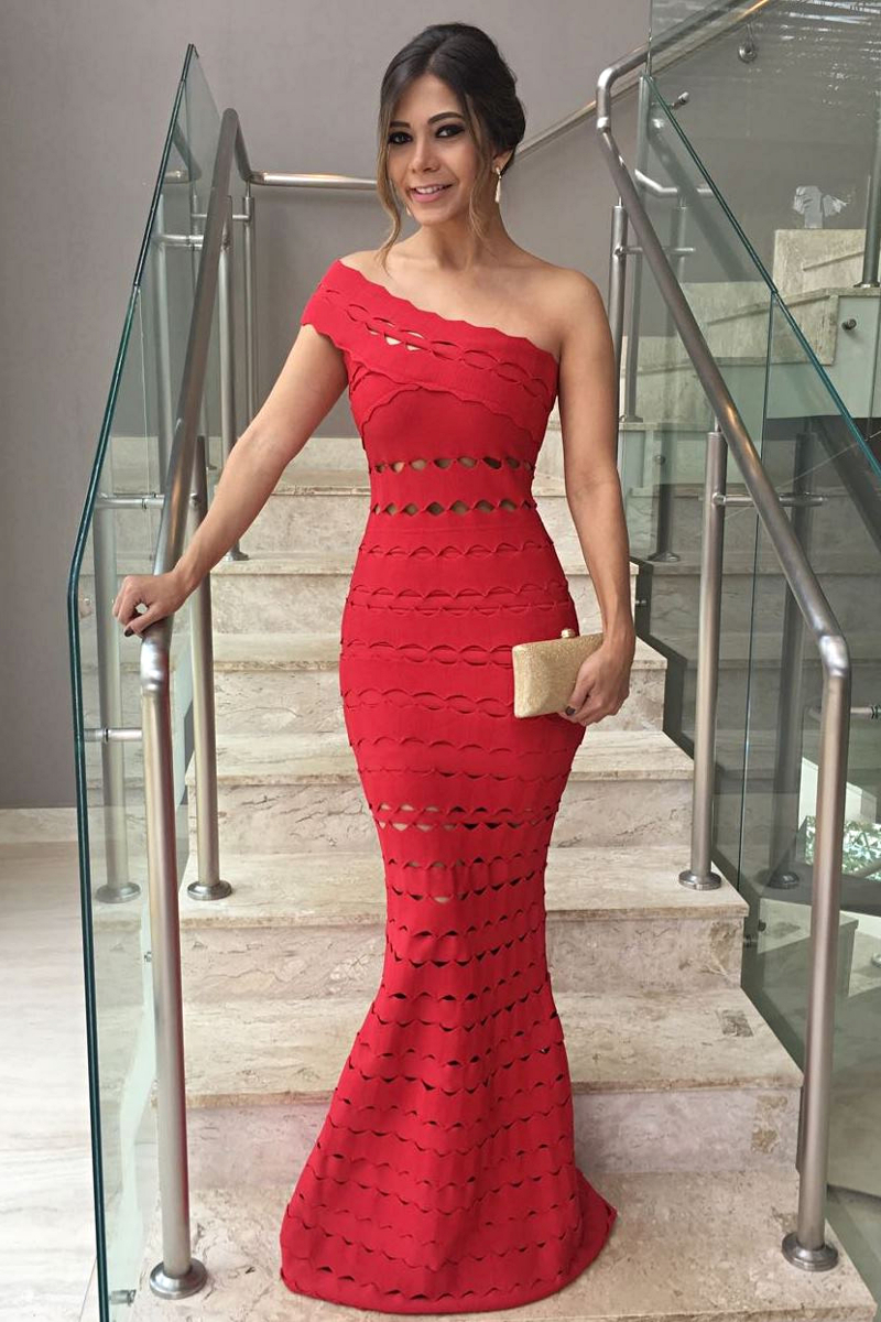 Herve Leger Red One Shoulder Laser Cut Mermaid Gown