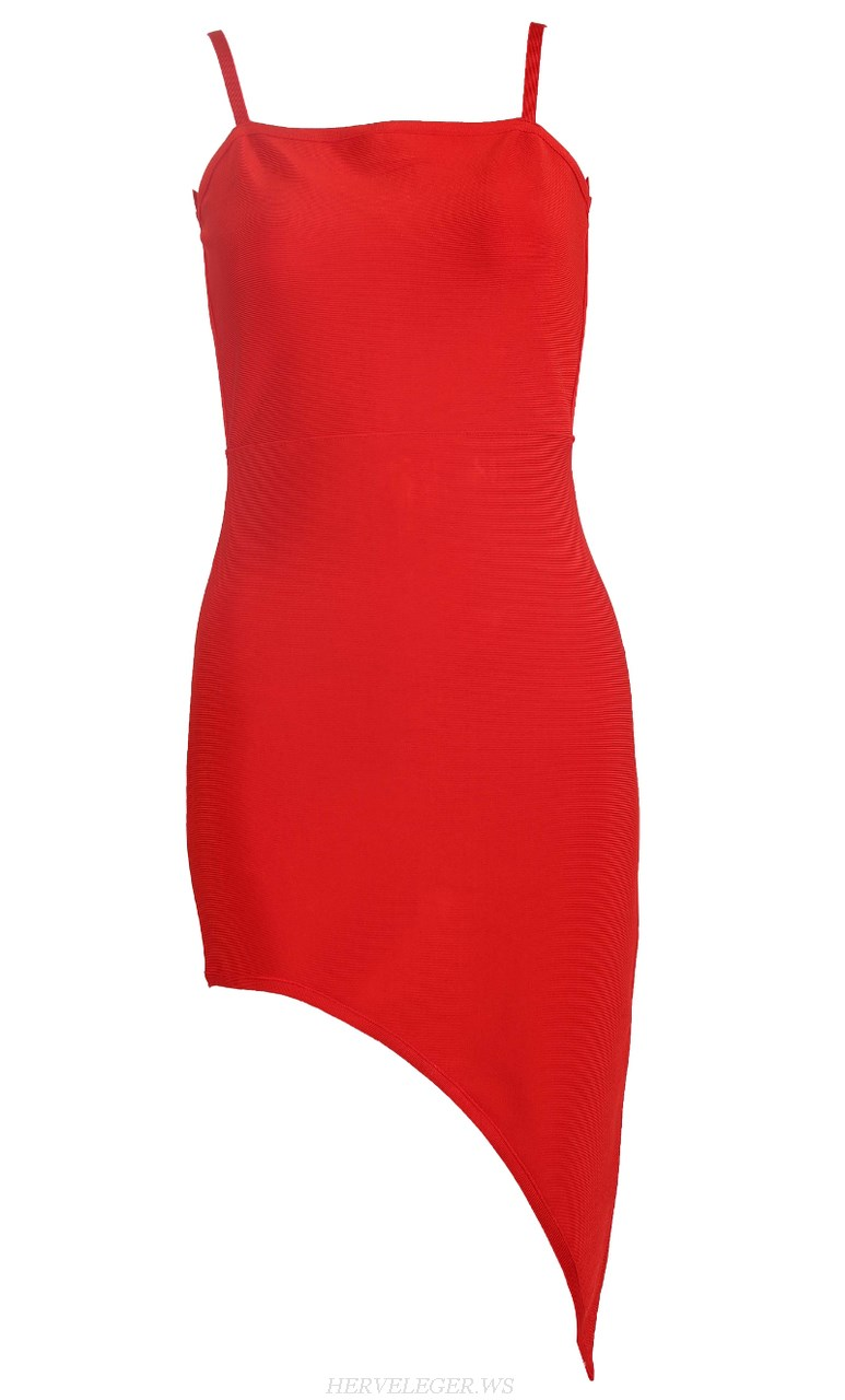 Herve Leger Red Asymmetric Strapless Bandage Dress
