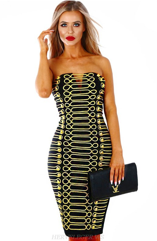 Herve Leger Black And Yellow Strapless Bandeau Embroidered Bandage Dress