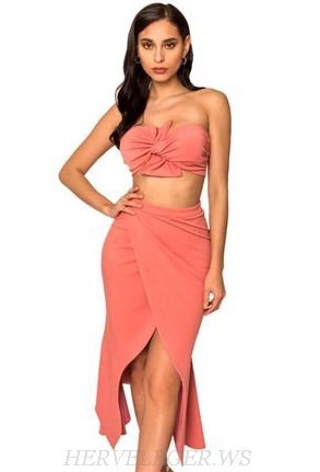 Herve Leger Coral Pink Bandeau Two Piece Strapless Dress