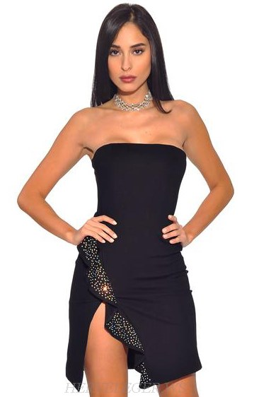 Herve Leger Black Strapless Bandeau Ruffle Bandage Dress
