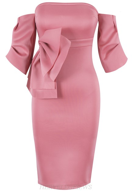 Herve Leger Pink Bardot Bow Detail Strapless Dress