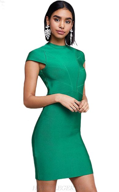 Herve Leger Green Cap Sleeve Bandage Dress