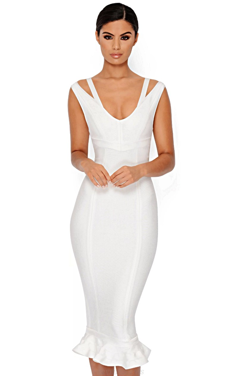 Herve Leger White V Neck Fluted Bandage Dress