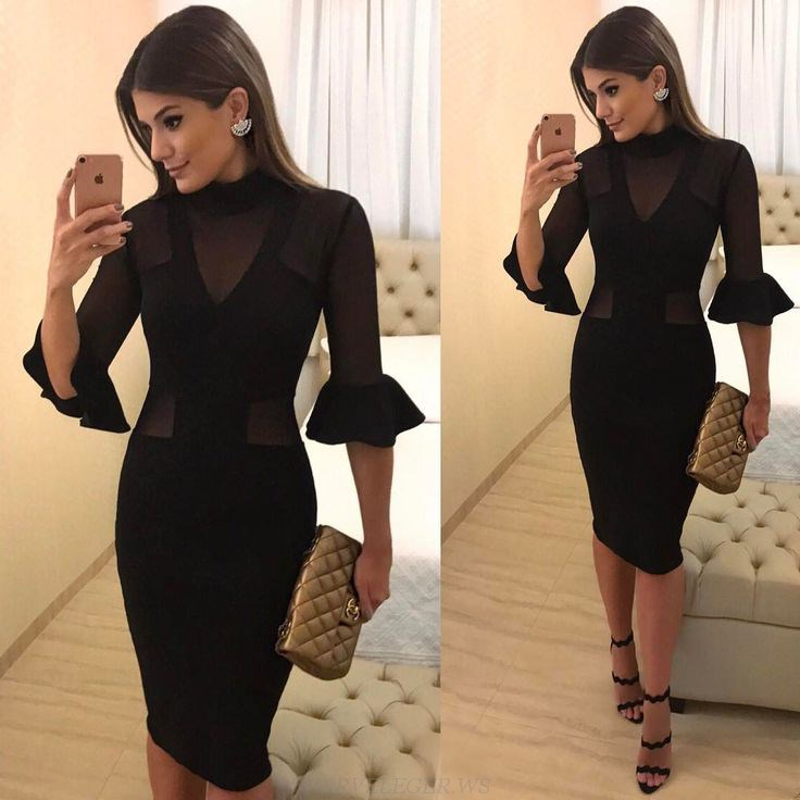 Herve Leger Black V Neck Fluted Sleeve Mesh Bandage Dress