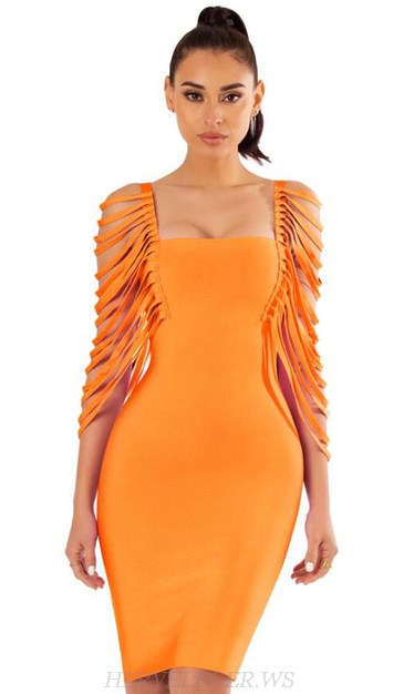 Herve Leger Orange Fringe Sleeve Bandage Dress