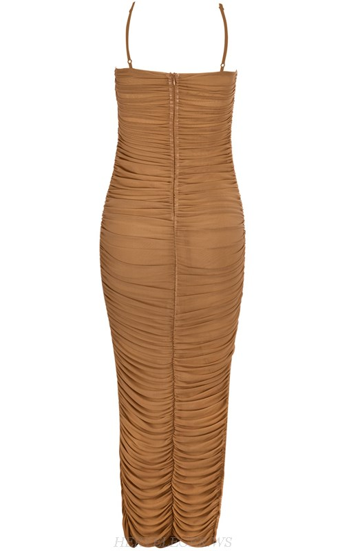 Herve Leger Nude Strapless Gathered Mesh Dress