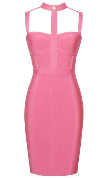 Herve Leger Pink Geo Strap Bandage Dress