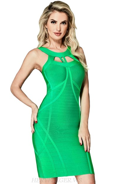 Herve Leger Green Halter Cut Out Bandage Dress