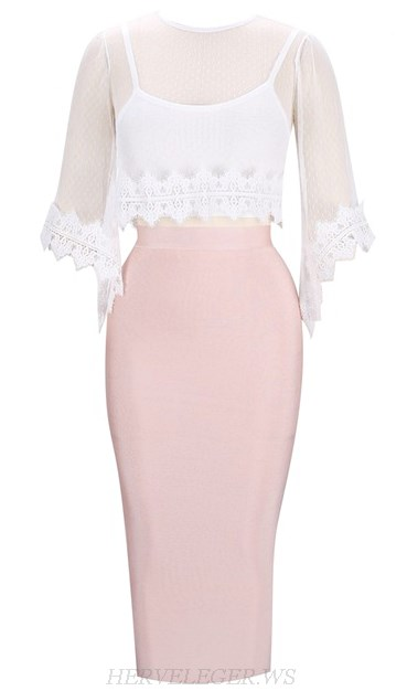 Herve Leger White Pink Lace Overlay Three Piece Bandage Dress