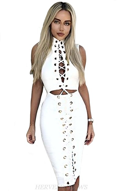 Herve Leger White Lace Up Two Piece Bandage Stars Dress