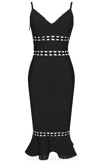 Herve Leger Black V Neck Laser Cut Fluted Bandage Dress
