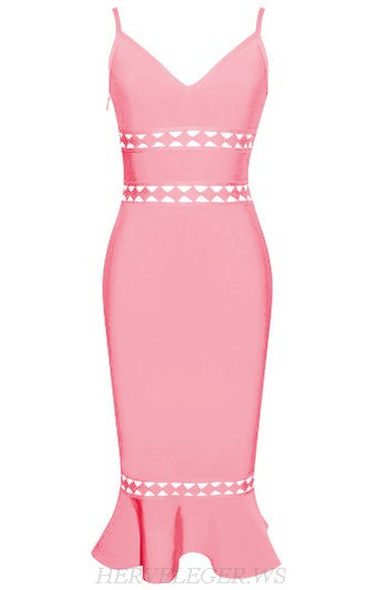 Herve Leger Pink V Neck Laser Cut Fluted Bandage Dress