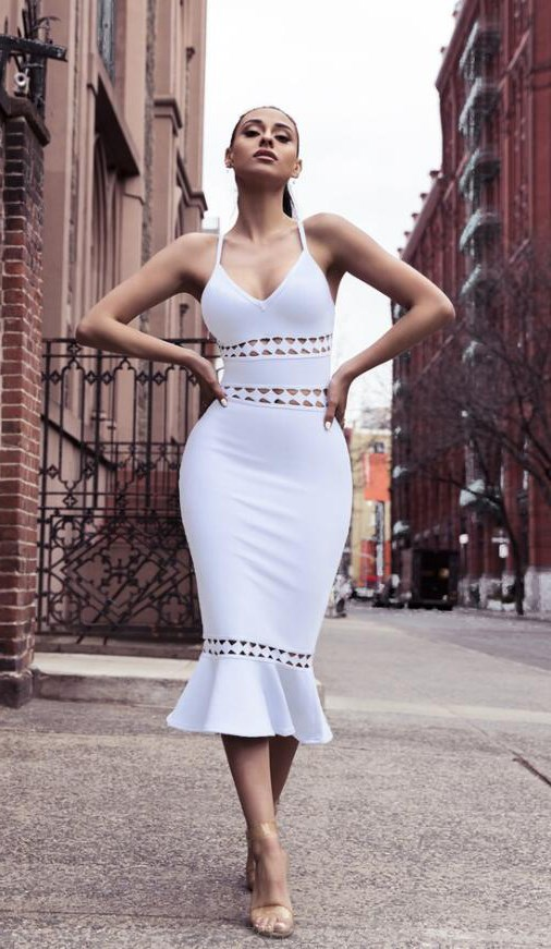 Herve Leger White V Neck Laser Cut Fluted Bandage Dress