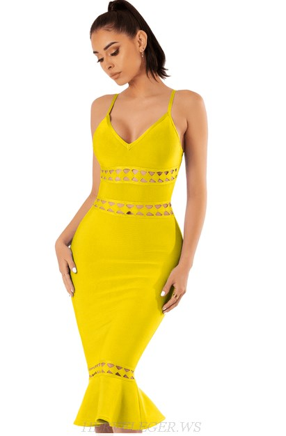 Herve Leger Yellow V Neck Laser Cut Fluted Bandage Dress