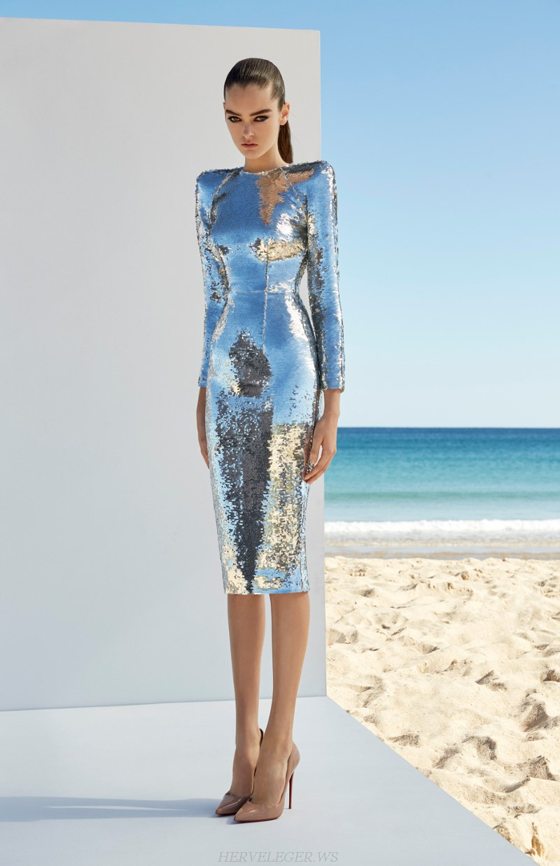 Herve Leger Silver Long Sleeve Sequin Stars Dress