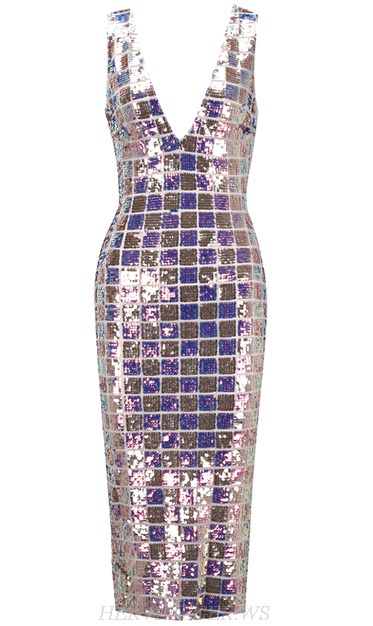 Herve Leger Gold Purple V Neck Sequin Dress