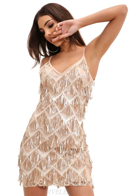 Herve Leger Nude Gold Sequin Tassel Bandage Dress