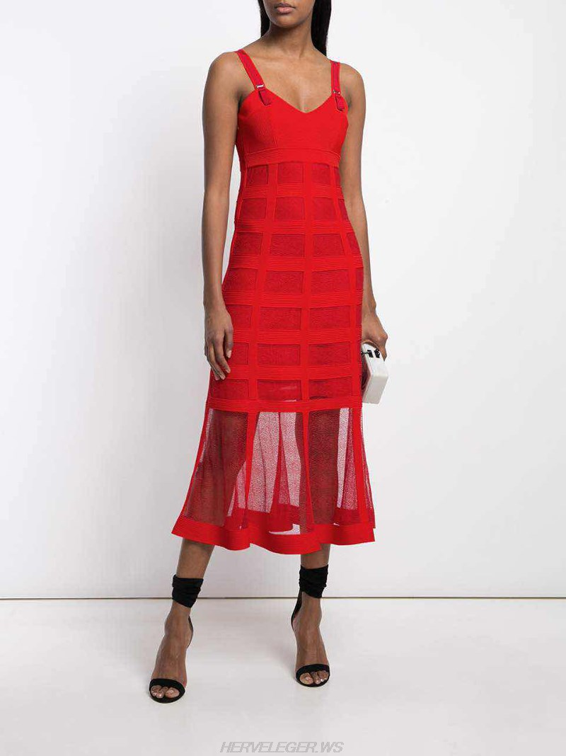 Herve Leger Red A Line Mesh Dress