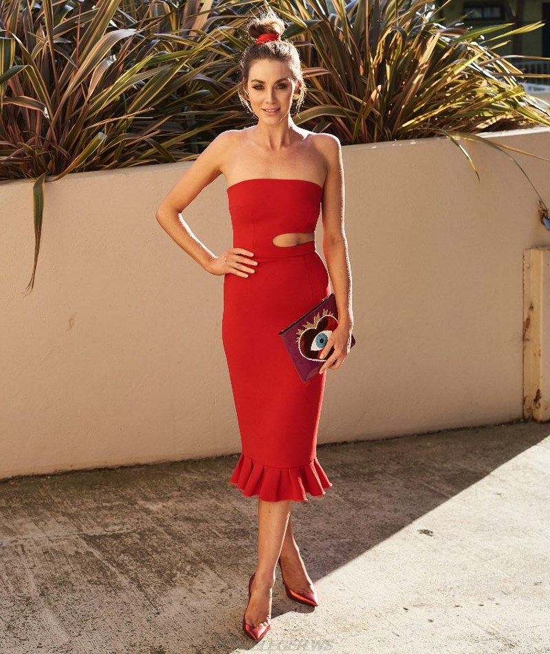 Herve Leger Red Bandeau Cut Out Fluted Dress