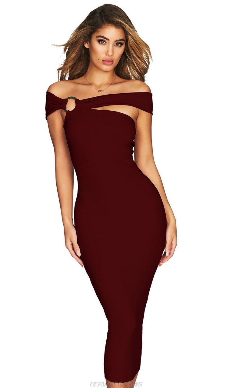 Herve Leger Burgundy Bardot Asymmetric Dress