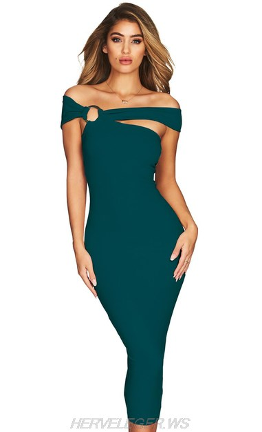 Herve Leger Green Bardot Asymmetric Dress