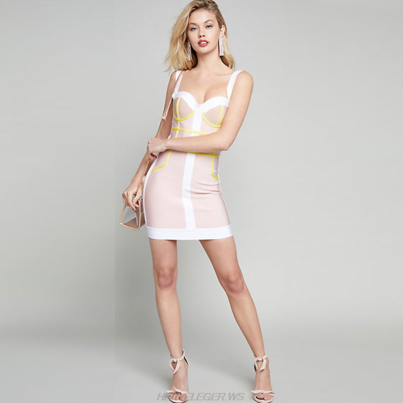 Herve Leger Nude White Yellow Colorblock Dress