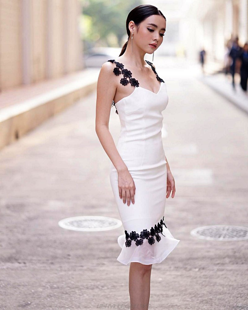 Herve Leger Black White Crochet Fluted Dress
