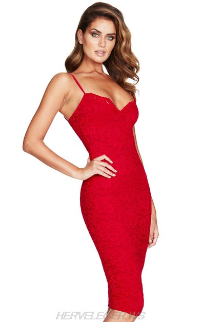 Herve Leger Red Lace Dress