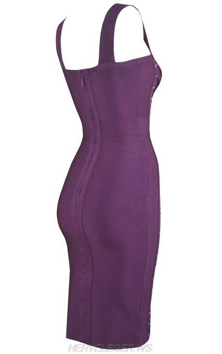 Herve Leger Purple Lace Up Dress