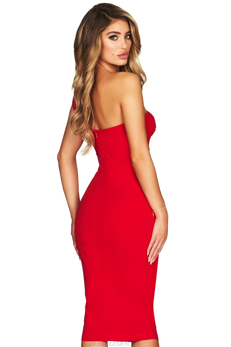 Herve Leger Red One Shoulder Cut Out Dress