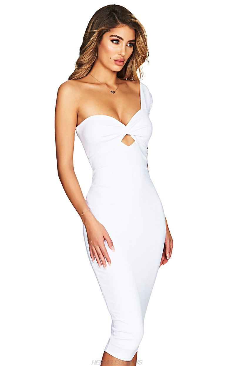 Herve Leger White One Shoulder Cut Out Dress