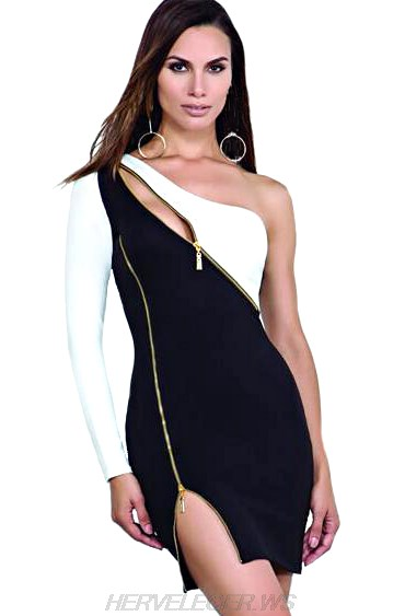Herve Leger Black White One Shoulder Zipper Dress