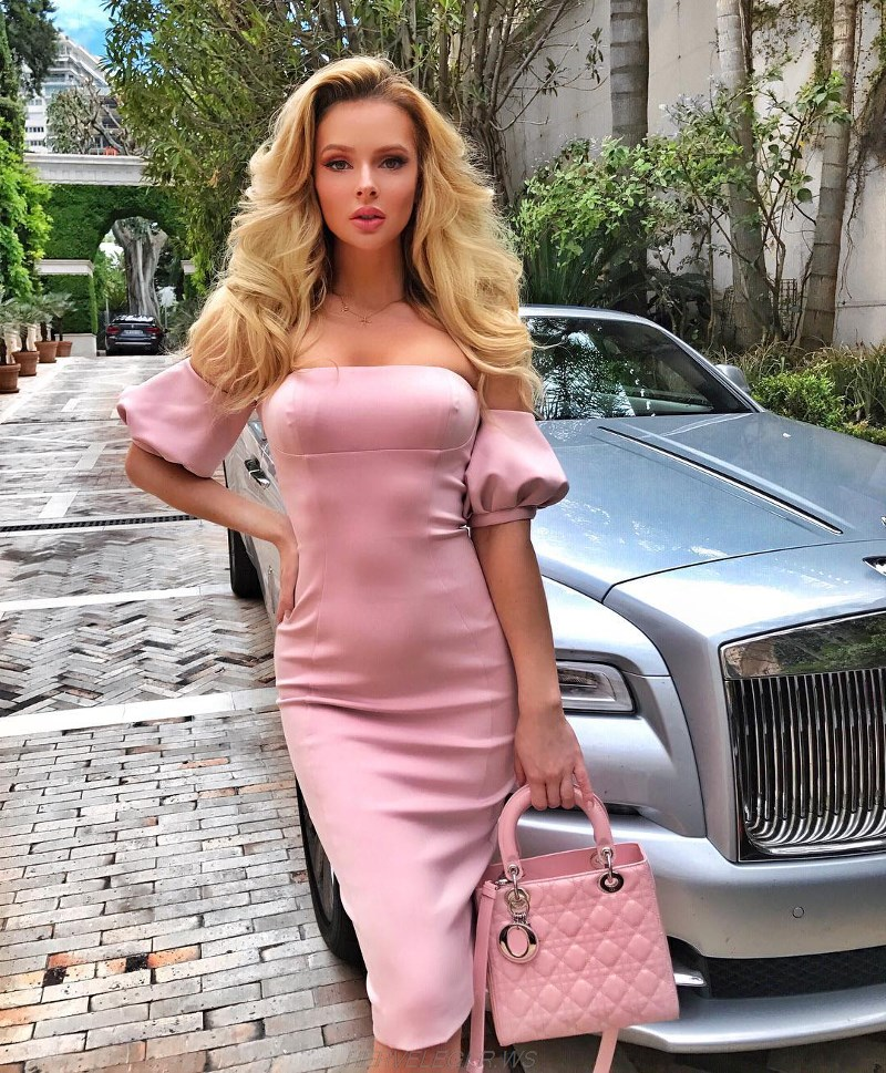 Herve Leger Pink Puff Sleeve Bardot Dress
