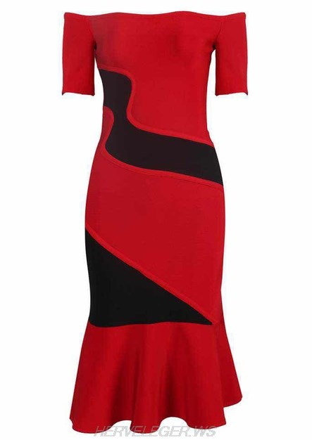 Herve Leger Red Short Sleeve Bardot Fluted Dress