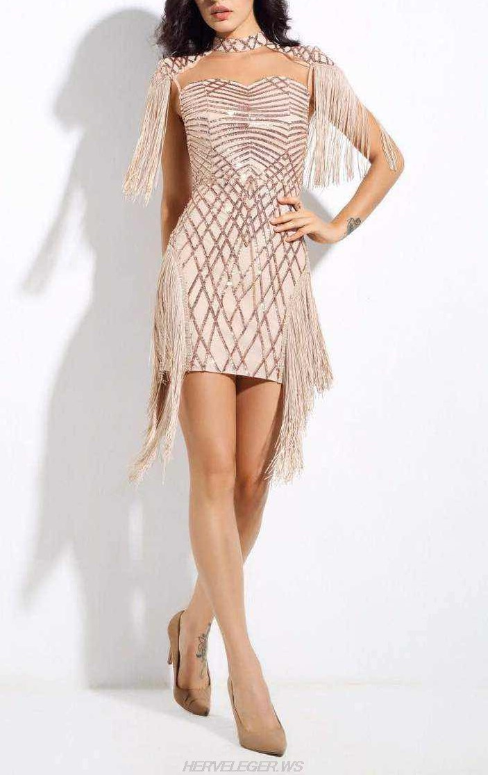Herve Leger Rose Gold Tassel Sequin Dress