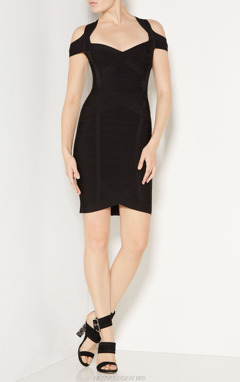 Herve Leger Black Cold Shoulder Sweetheart Dress