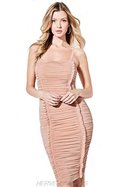 Herve Leger Nude Frill Gathered Dress