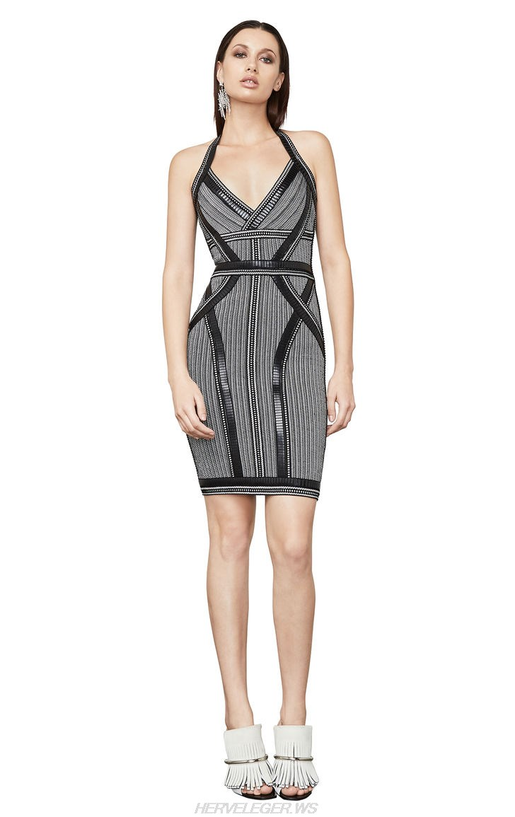 Herve Leger Black Halter Embellished Dress