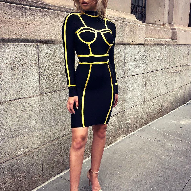 Herve Leger Black And Yellow Long Sleeve Dress