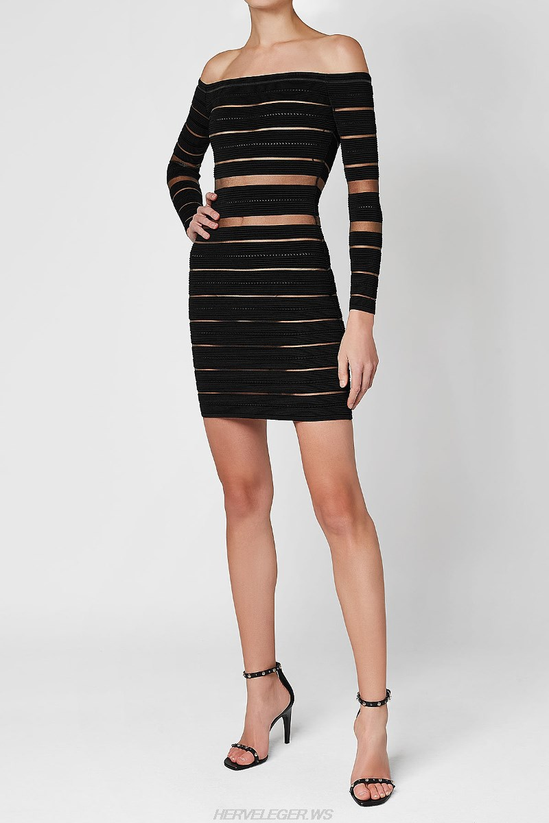 Herve Leger Black Halter Long Sleeve Bardot Mesh Dress
