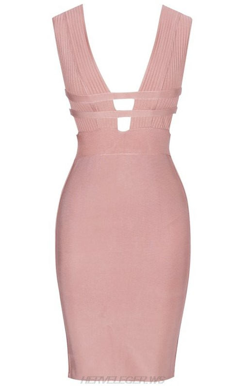 Herve Leger Nude Pink Plunge V Neck Dress