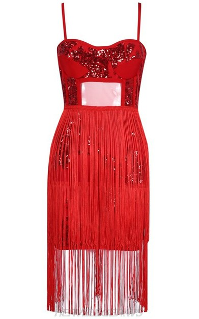 Herve Leger Red Sequin Bustier Tassel Dress